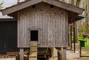 view a historic elevated chicken coop