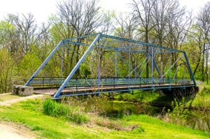 walk along the blue bridge when you visit the wabash and erie canal
