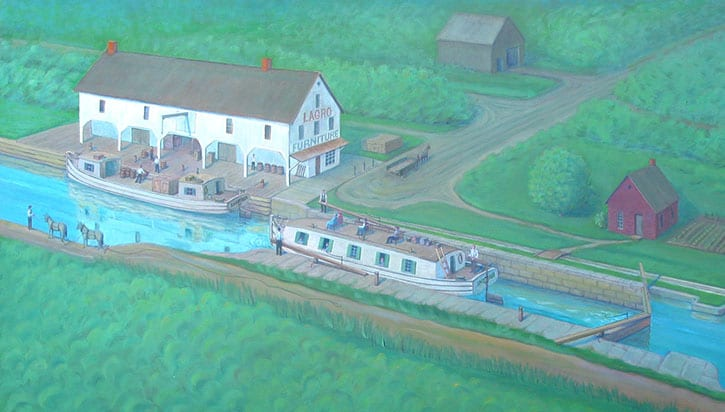 depiction of the canal boat at lagro dock