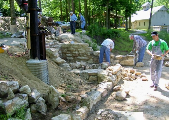 volunteers at the wabash and erie canal reconstruct historic lime kilns