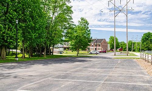 plenty of paved parking is available off washington street on rhineland trail
